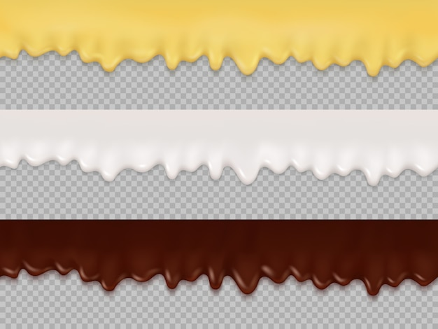 Naadloze druppels crème, glazuur en chocolade Premium Vector