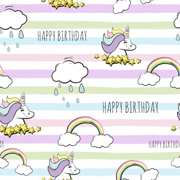 Naadloze gelukkige verjaardag eenhoorn patroon Premium Vector