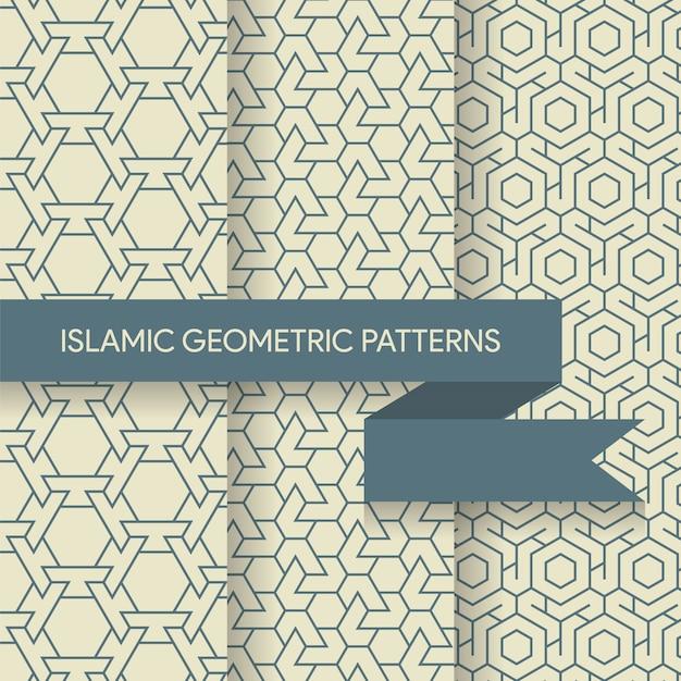 Naadloze geometrische islamitische patronen texturen collectie Premium Vector