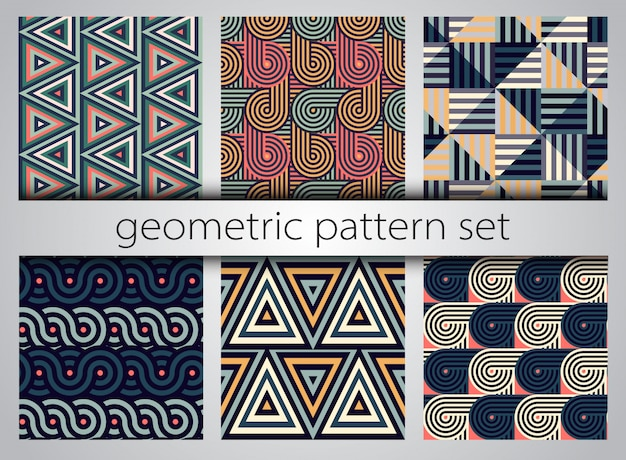 Naadloze geometrische patroonreeks. Premium Vector