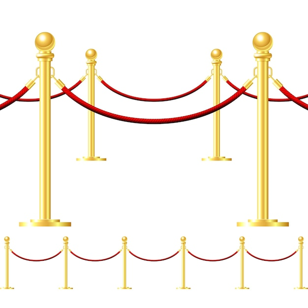 Naadloze gouden hek met rode kabel geïsoleerd op wit Premium Vector