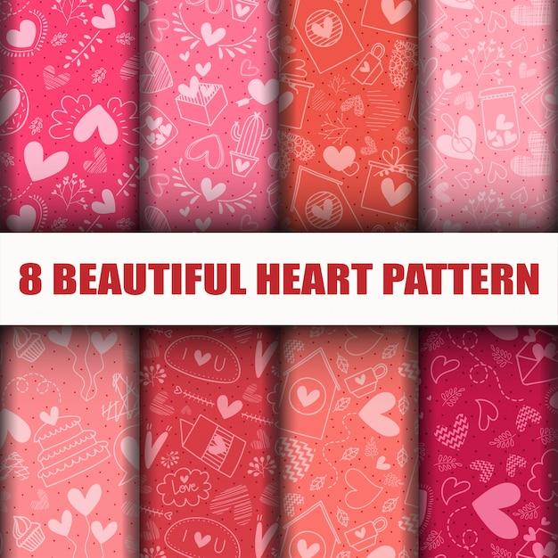 Naadloze hart collectie patroon set. Gratis Vector