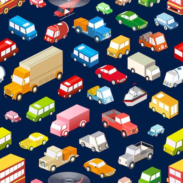 Naadloze herhalende achtergrond van verschillende isometrische voertuigen, auto's, bussen en vrachtwagens Premium Vector