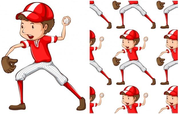 Naadloze honkbaljongen die op wit wordt geïsoleerd Gratis Vector