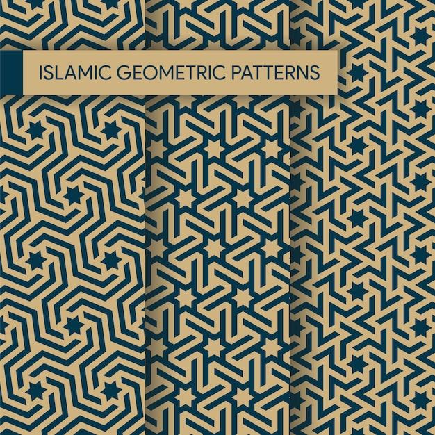 Naadloze islamitische geometrische patronen texturen collectie Premium Vector