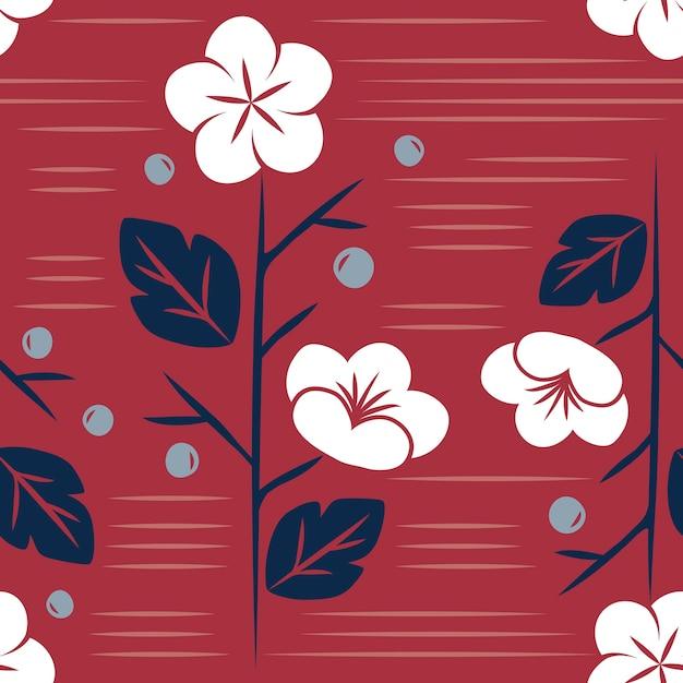 Naadloze japanse stijl bloemmotief Gratis Vector