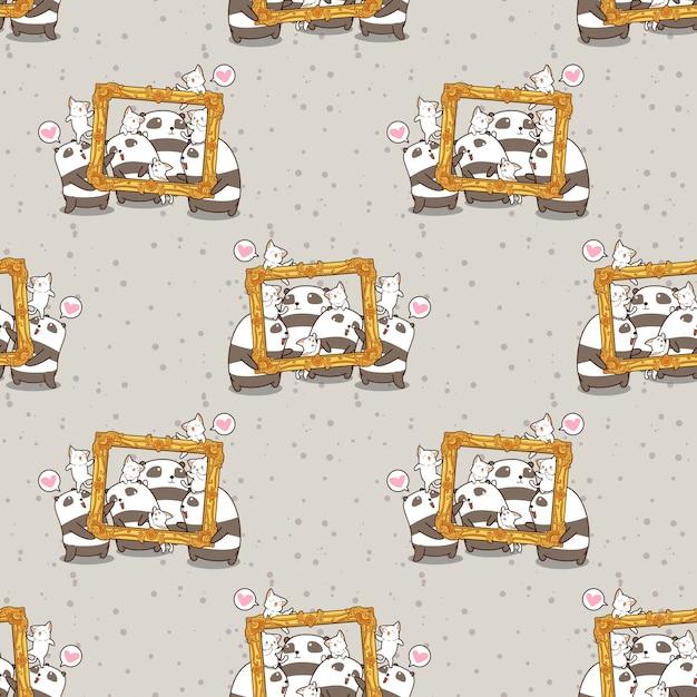 Naadloze kawaiipanda's en katten met een patroon van het luxekader Premium Vector