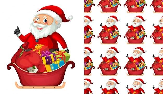 Naadloze kerstman met geschenken Gratis Vector