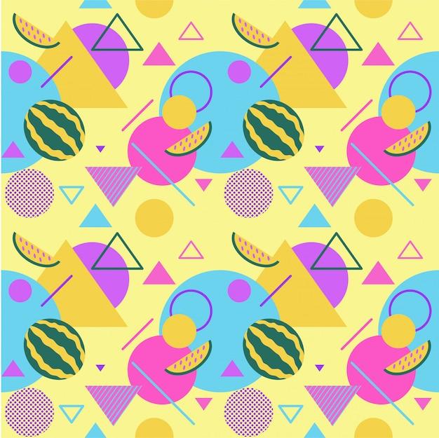 Naadloze kleuren zomer patronen met watermeloenen en palmen Premium Vector
