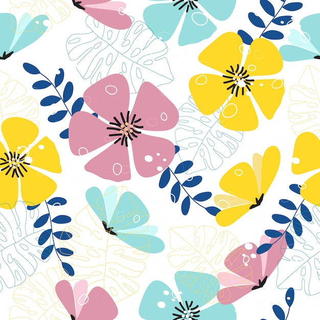 Naadloze kleurrijke tropische lente bloemenpatroon achtergrond Premium Vector