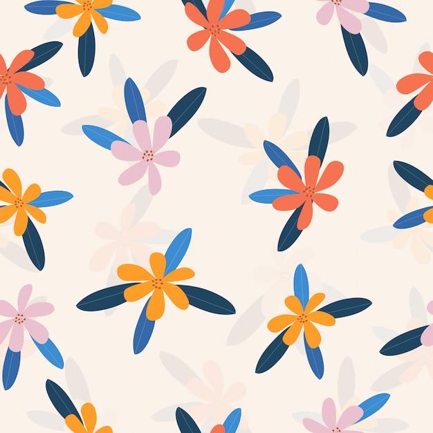 Naadloze leuke kleurrijke bloemenpatroonachtergrond Premium Vector