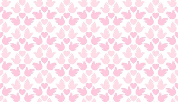 Naadloze liefde patroon van harten en duiven, eenvoudig Premium Vector