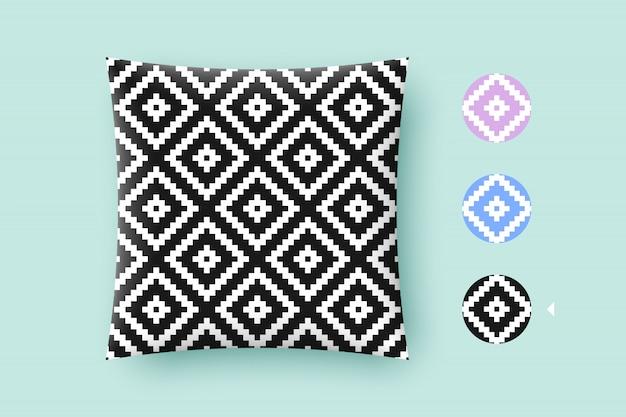 Naadloze moderne stijlvolle textuur en grafisch patroon. zwart herhalende absract geometrische tegels met gestippelde ruit op een witte achtergrond Premium Vector