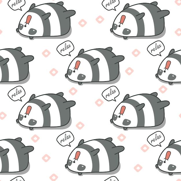 Naadloze panda is lui patroon. Premium Vector