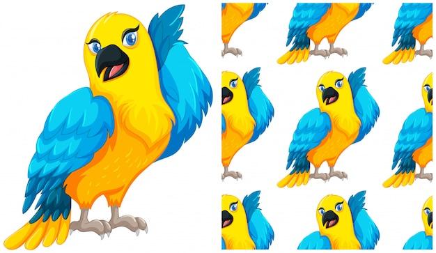 Naadloze papegaai geïsoleerd op wit Gratis Vector