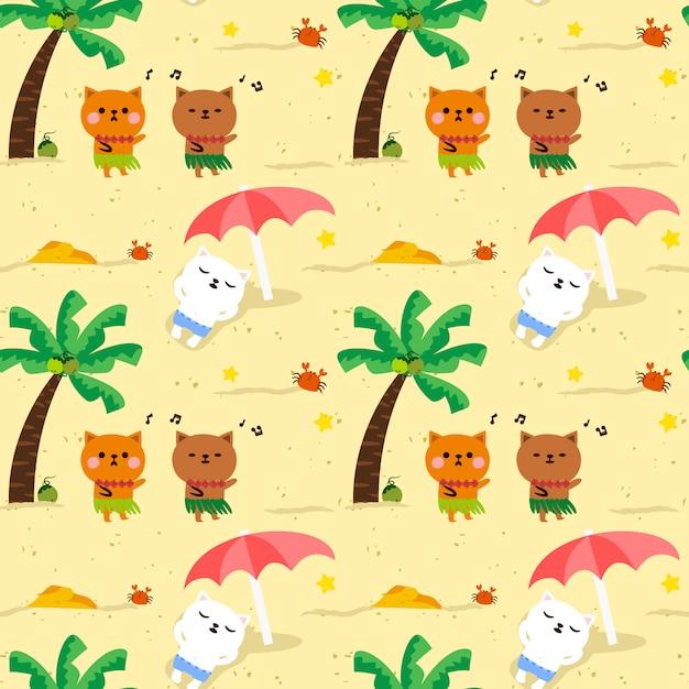 Naadloze partij van hawaï van de patroon leuke kat op het strand. Premium Vector