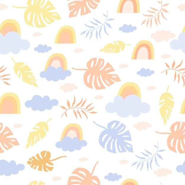 Naadloze pastel patroon regenboog en palmen Gratis Vector