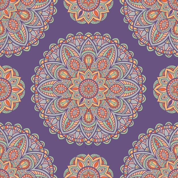 Naadloze patroon behang mandala vector ontwerp voor afdrukken. tribal ornament. Premium Vector