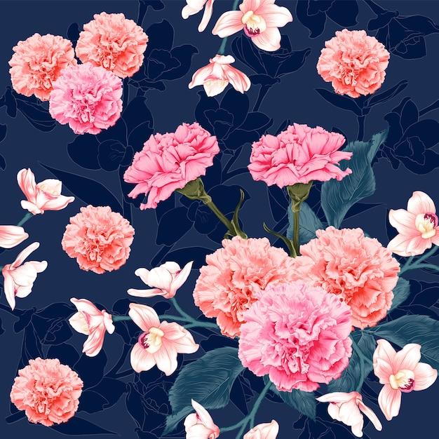 Naadloze patroon botanische roze anjer en roze orchideebloemen op abstracte donkerblauwe achtergrond. illustratie tekenen aquarel stijl. Premium Vector