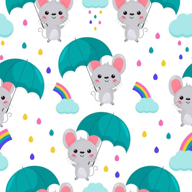 Naadloze patroon cartoon kawaii muis met paraplu. regenboog en wolk. Premium Vector