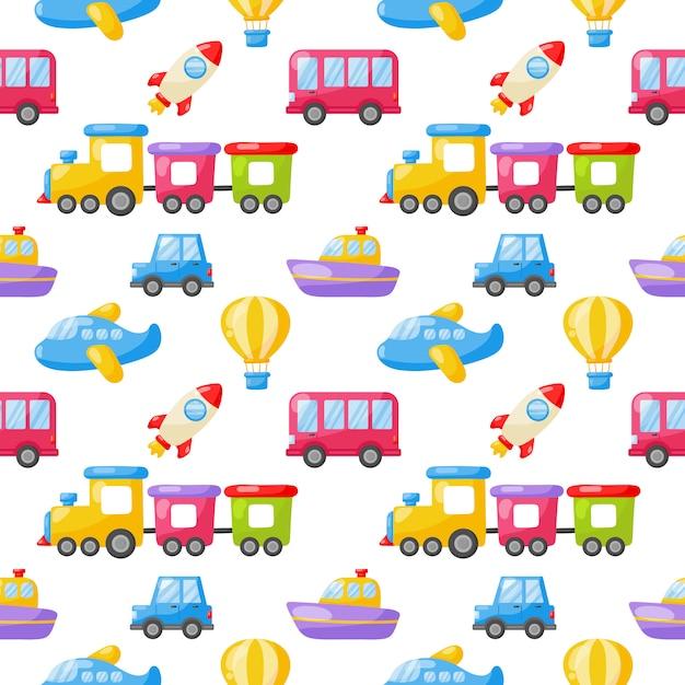 Naadloze patroon cartoon transport speelgoed. auto's, boot, helikopter, raket, ballon en vliegtuig. kawaii stijl geïsoleerd op een witte achtergrond. Premium Vector
