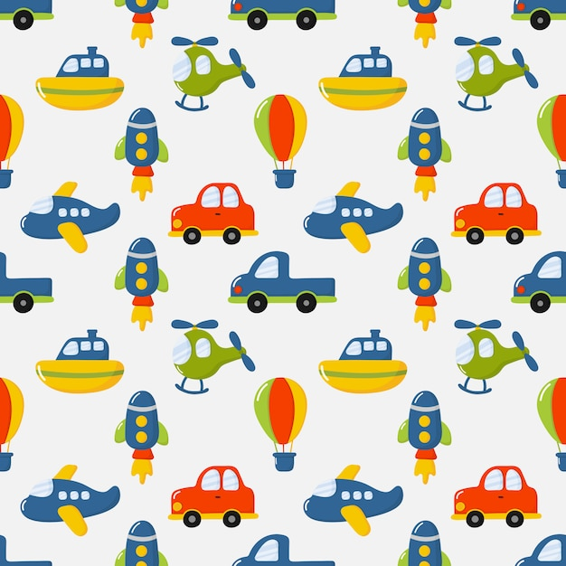 Naadloze patroon cartoon transport speelgoed. auto's, boot, helikopter, raket, ballon en vliegtuig Premium Vector
