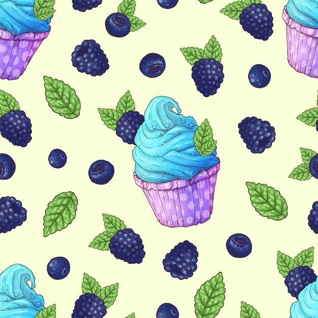Naadloze patroon cupcakes aardbei frambozen kersen Premium Vector
