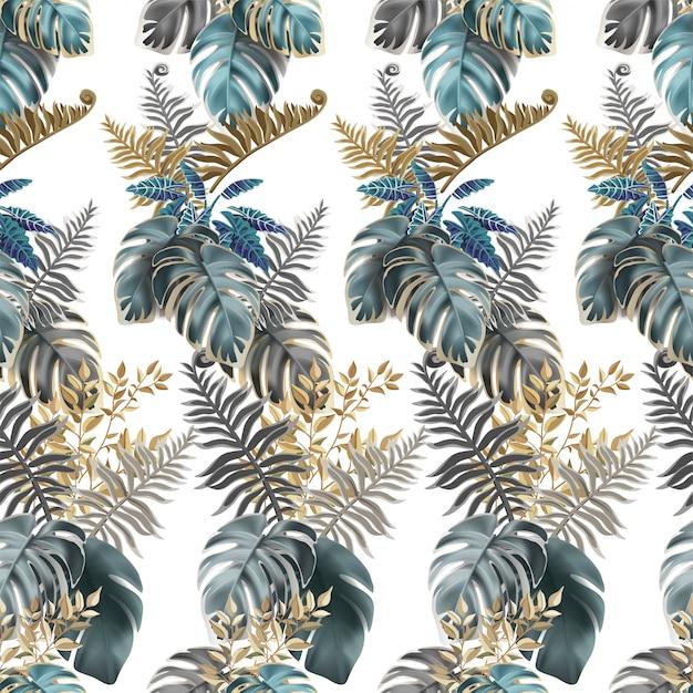 Naadloze patroon donkere bladeren palmbomen, lianen Premium Vector