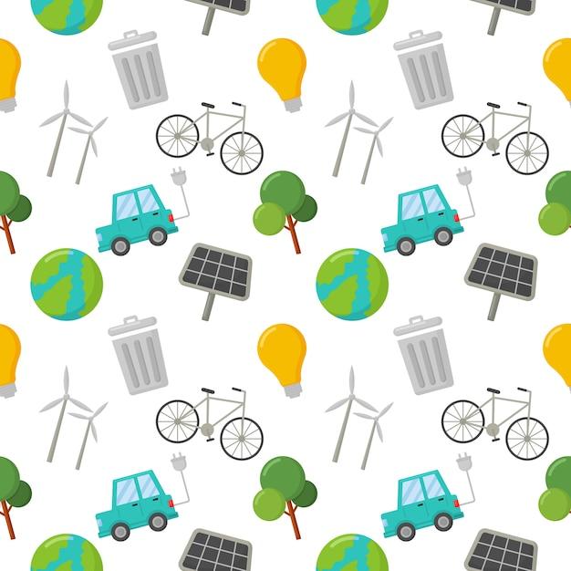 Naadloze patroon ecologie pictogrammen. groene energie, eco op wit wordt geïsoleerd. Premium Vector