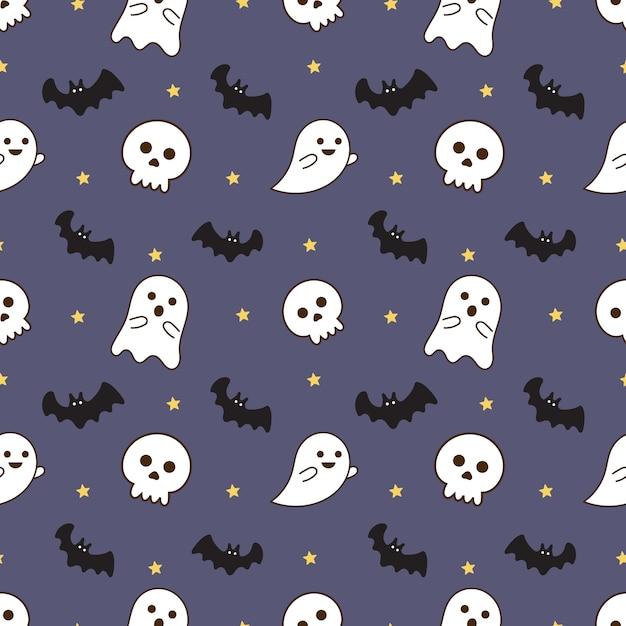 Naadloze patroon gelukkig halloween pictogrammen geïsoleerd op paarse achtergrond. Premium Vector