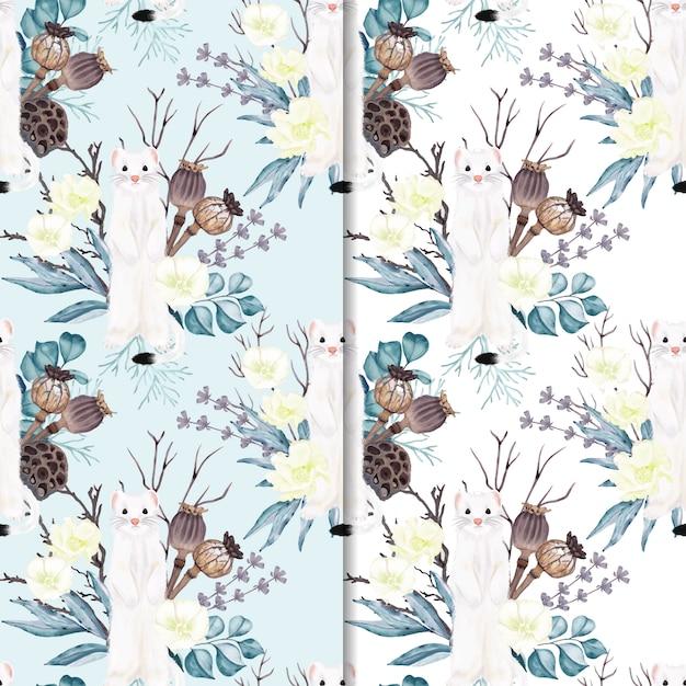 Naadloze patroon hermelijn met bloemen Premium Vector