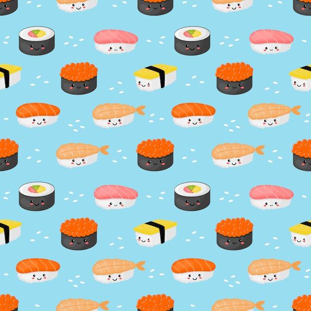 Naadloze patroon kawaii sushi en sashimi op blauw Premium Vector