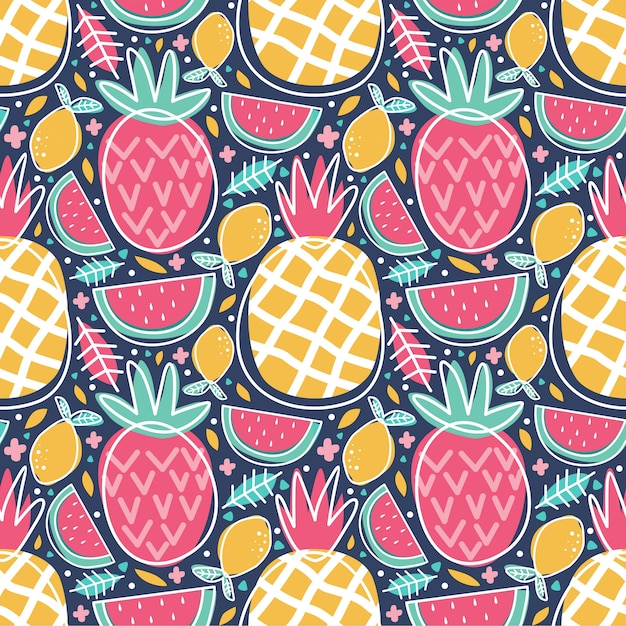 Naadloze patroon kleurrijke tropische fruit ananas watermeloen citroen doodle Premium Vector