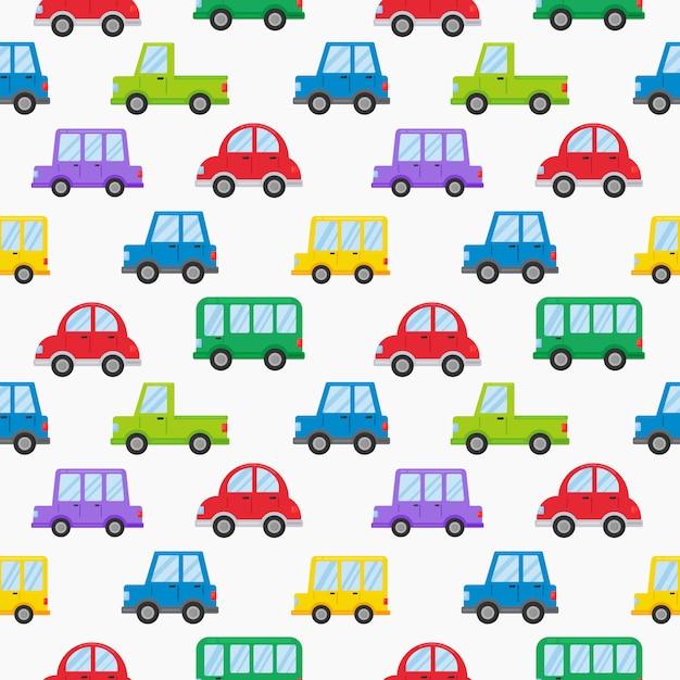 Naadloze patroon kleurrijke vervoer schattige auto cartoon stijl geïsoleerd op wit Premium Vector