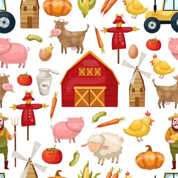 Naadloze patroon landbouw met vee dieren en landbouwproducten Gratis Vector