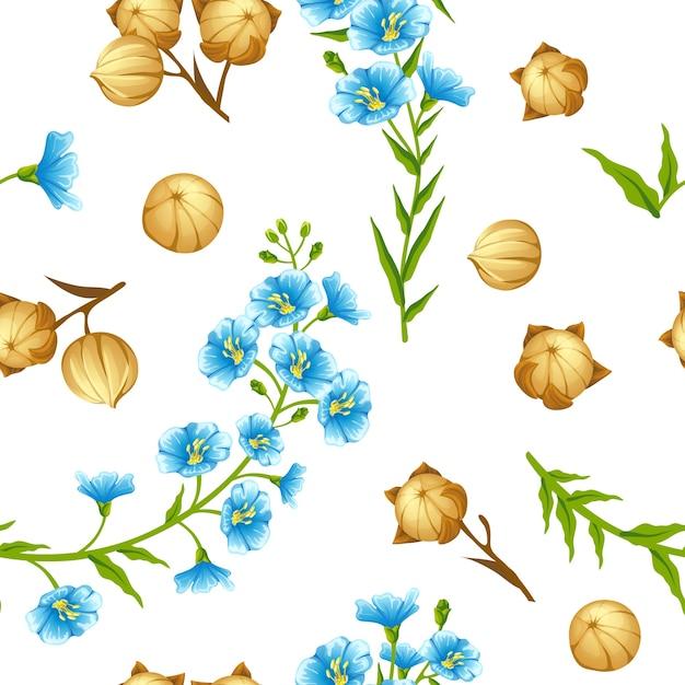 Naadloze patroon lijnzaad en bloemen. Gratis Vector