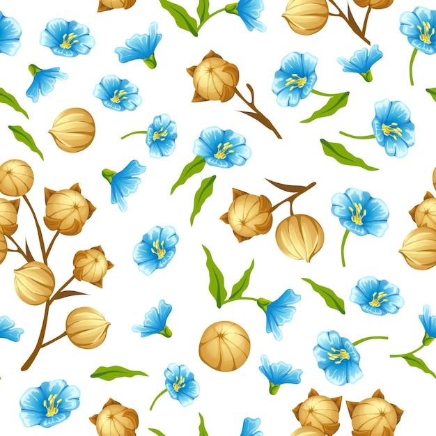 Naadloze patroon lijnzaadolie, vlas veld, zaden, bloemen Premium Vector