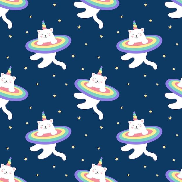 Naadloze patroon magische kat eenhoorn, regenboog, sterrenhemel. een schattige witte kat vliegt in de ruimte. illustratie voor kinderen. afdrukken voor verpakking, stof, textiel, behang. Premium Vector