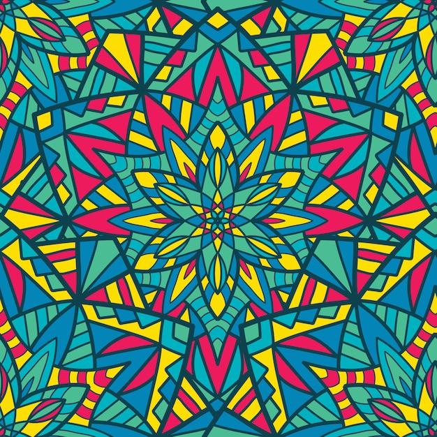 Naadloze patroon mandala vector ontwerp voor afdrukken. tribal ornament. Premium Vector