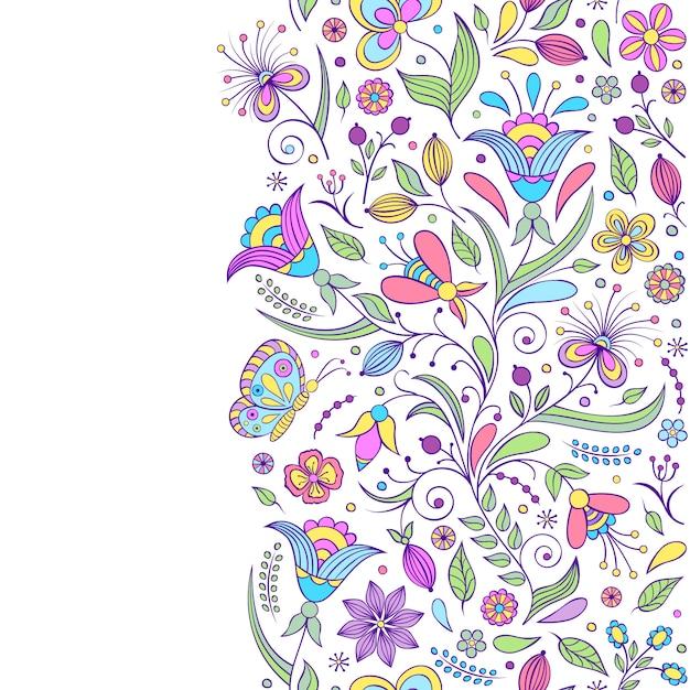 Naadloze patroon met abstracte bloemen Premium Vector