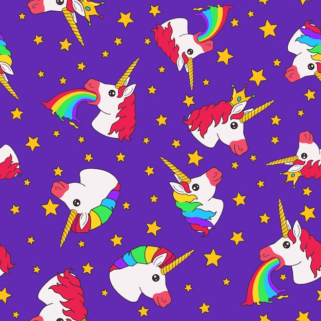 Naadloze patroon met cartoon grappige fee eenhoorn en sterren op paarse achtergrond Premium Vector