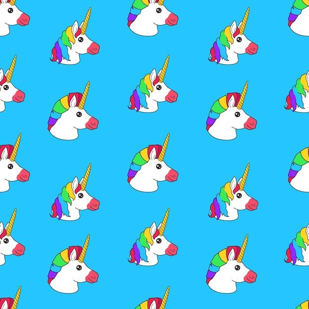 Naadloze patroon met cartoon grappige fee eenhoorn met regenboog kapsel op blauwe achtergrond Premium Vector