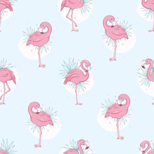 Naadloze patroon met flamingo's Premium Vector