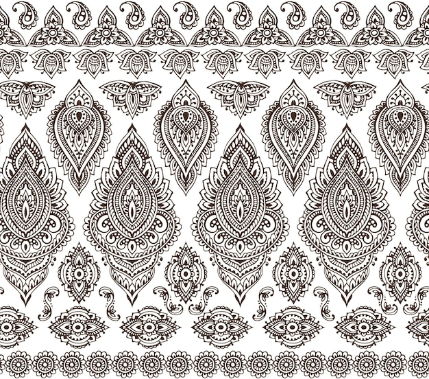 Naadloze patroon met hand getrokken henna mehndi bloemenelementen Premium Vector