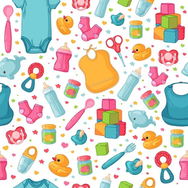 Naadloze patroon met items uit de kindertijd. Premium Vector