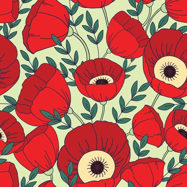 Naadloze patroon met klaprozen. floral achtergrond Premium Vector