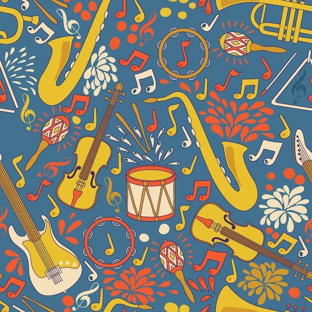 Naadloze patroon met muziekinstrumenten. illustratie. abstracte muziek achtergrond Premium Vector