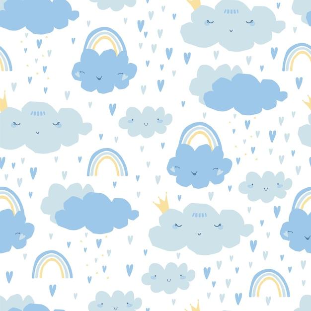 Naadloze patroon met regenboog, wolken, harten voor kinderen. Premium Vector