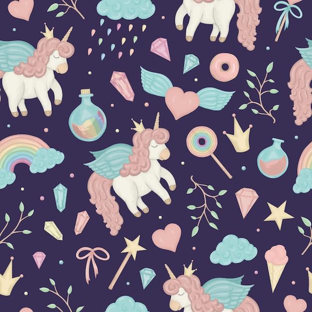 Naadloze patroon met schattige aquarel stijl eenhoorns, regenboog, wolken, donuts, kroon, kristallen Premium Vector