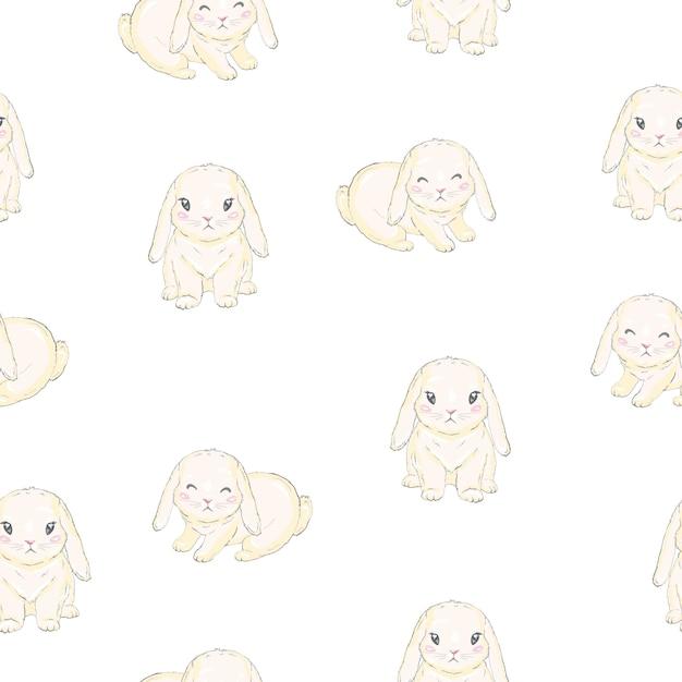 Naadloze patroon met schattige cartoon konijntje, Premium Vector